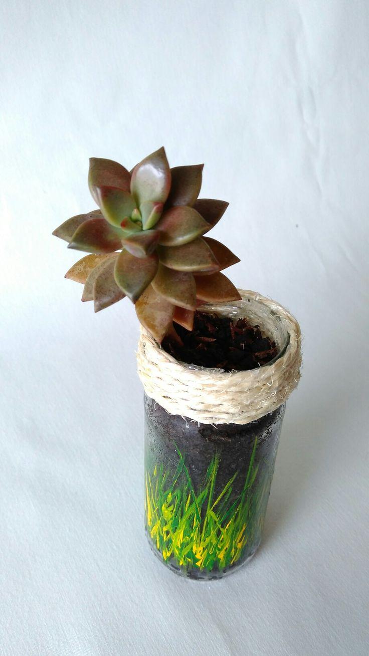 Envase reutilizado de vidrio  Pintura hecha a mano con terminado en cabulla  Suculenta