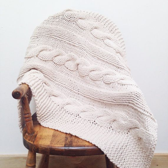 ETSY. Made to Order / The Chalet baby Blanket is a cozy, chunky cable knit blanket, perfect for the crib, car seat, and stroller. Hand Knit in Jersey cotton.