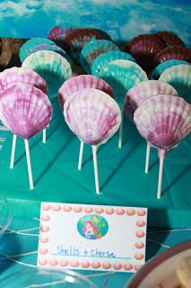 Octopops Sand Pudding and Watermelon fruit Pail Chocolate shell pops and sea animal cookies clam cookies Ariel's Nu...
