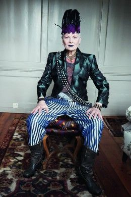 Vivienne Westwood wearing a feather hair band by Prudence Millinery for Gold Label Autumn Winter 2014 2015 http://prudencemillinery.com