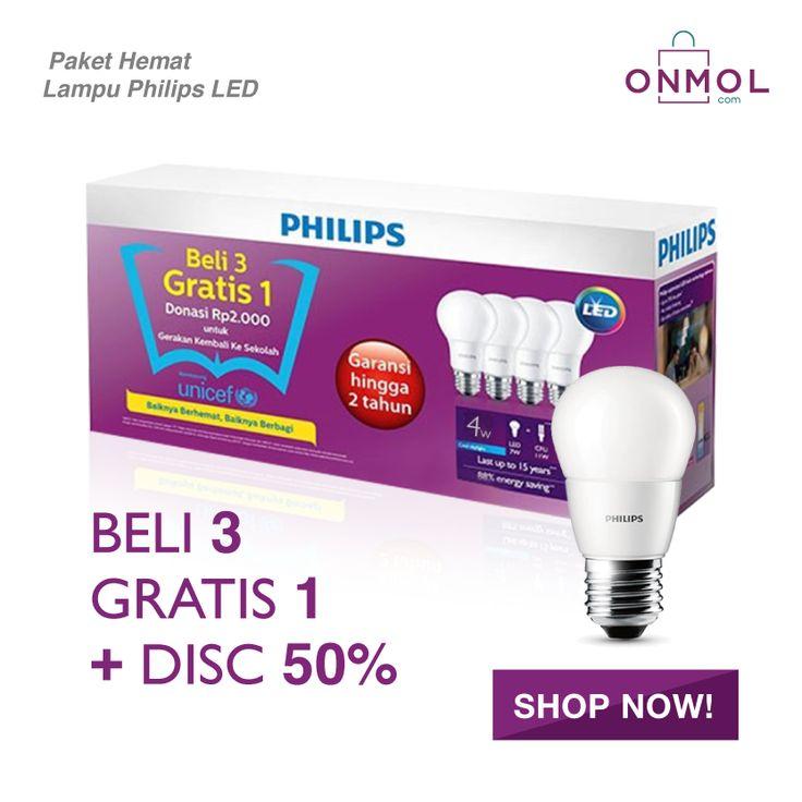 Paket HEMAT Lampu LED Philips. Beli 3 Gratis 1 Lampu + Diskon 50% untuk semua varian produk Lampu LED Philips di OnMol.com. Cek penawaran selengkapnya disini.