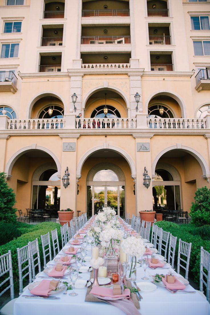 Elegant outdoor wedding reception with long tables (Ivan Diana Photography)
