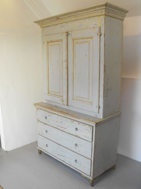 Swedish 19thC Housekeepers Cupboard in Old original paint
