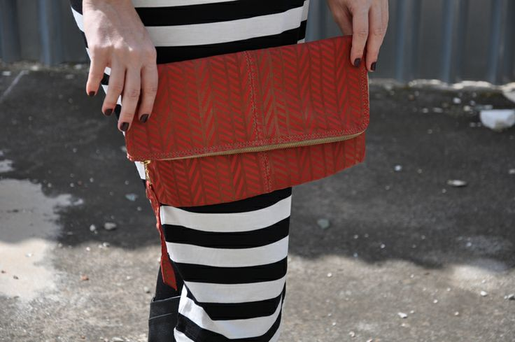 geometrical pattern leather clutch