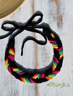 Neon Rainbow Ombre Bib Braided Necklace Statement por Borgica