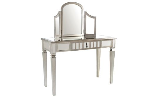 1000 images about mirrored furniture on pinterest for Silver vanity table
