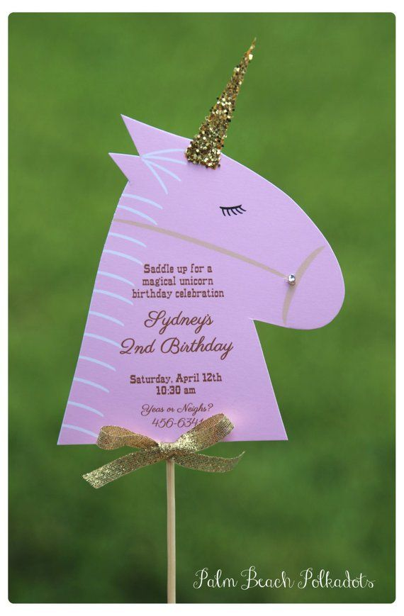 10 Beautiful Magical Woodland Unicorn or Rainbow Horse / Pony Party Farm Birthday Invitations by Palm Beach Polkadots