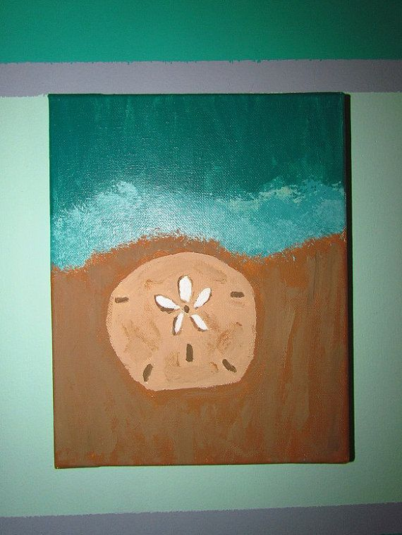 Sand Dollar Canvas Painting By Collegecraftz On Etsy