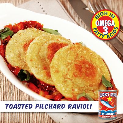 Breaded and baked until hot, golden and crispy.  This toasted pilchard ravioli is sure to be a hit with friends and family.   Recipe: https://www.facebook.com/LuckyStarSA/photos/a.324080521012669.78759.302222999865088/631832146904170/?type=1&theater