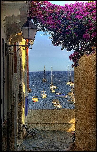 Cadaqués, Catalunya, Spain * Spectacular contrasts from soaring peaks of the Pyrenees to the sparkling Mediterranean coast, Catalunya is filled with mega resorts and ancient parish churches. A city where you can ski in the morning and sunbathe on the beach in the afternoon.