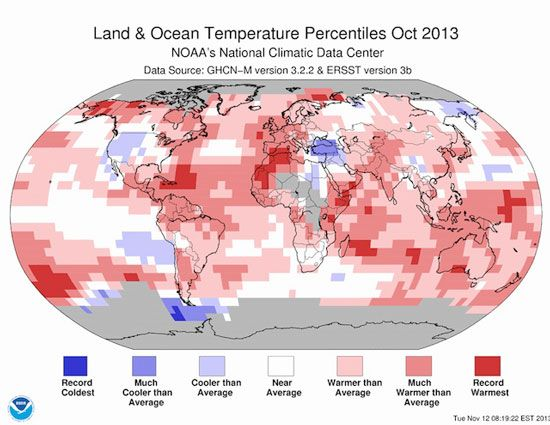 This past October was the seventh warmest on record globally, continuing a streak of 344 months of above average temperatures.