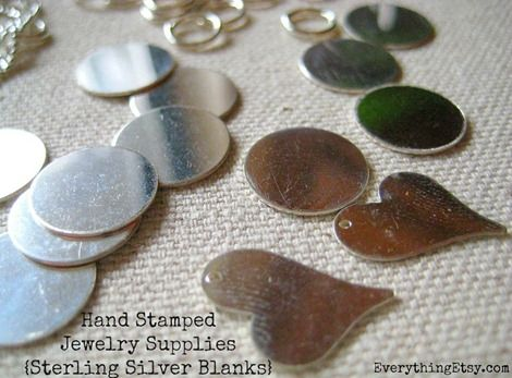Hand stamped jewelry supplies - sterling silver blanks