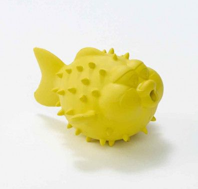 """Sea creatures star in splashy adventures""""and verbal skills develop""""when kids play with Bathtub Pals. Made from natural rubber, this fun Puffer Fish character bubbles when submerged and drains easily after playtime in the bath, beach or pool. Dishwasher safe _ top rack preferably. Recommended for ages 2+."""