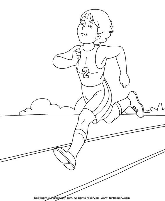 Athlete Running Coloring And Activity Page Coloring Pages Fun Snacks For Kids Cool Coloring Pages