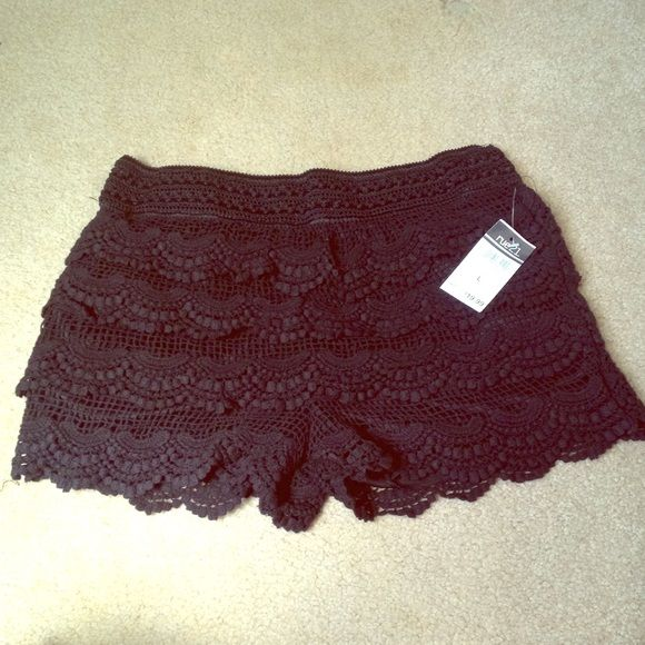 Rue21 black lace shorts Rue21 black lace shorts, size L but fits like a M, never worn, new with tags Rue 21 Shorts