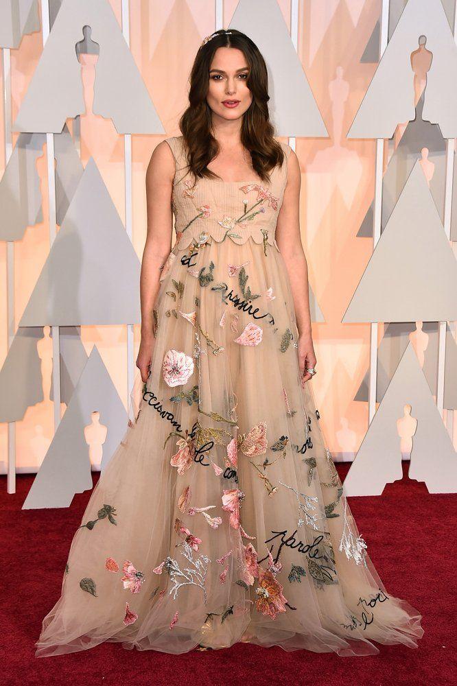 Keira Knightley, Oscars, 2015 Academy Awards  Dreamy Valentino gown looks very pretty on an expectant Kiera.