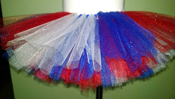 Red White and Blue Tutu with Glittery Top Layer - American Tutu - Memorial Day Tutu - American Pride Tutu - Military Welcome Tutu