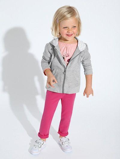 Hoody BLUE DARK SOLID WITH DESIGN+GREY LIGHT SOLID WITH DESIGN+PINK BRIGHT SOLID WITH DESIG - vertbaudet enfant