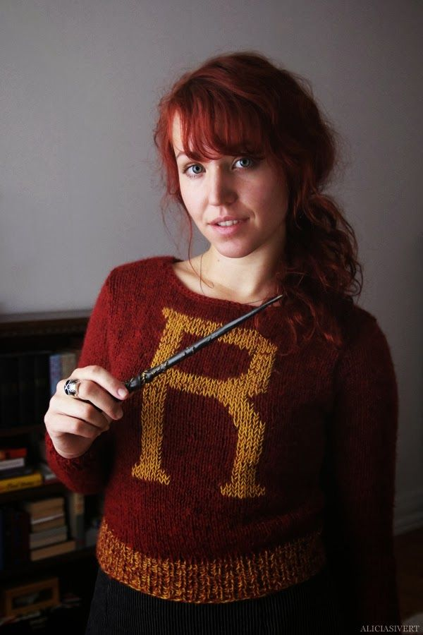 """Weasley sweater (and wand) by Alicia Sivertsson, 2012-13. Based on a modified version of """"Symphony"""" knitting pattern by Drops Design. # Harry Potter"""