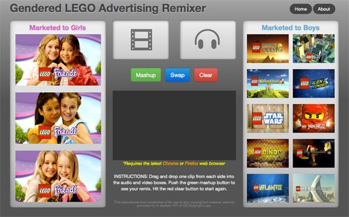 Gendered advertising remixer - media literacy tool lets you swap the audio and video from TV commercials directed at boys with those directed at girls and vice versa. Simply drag and drop clips from the library of 20 gendered toy ads to create new hilarious and insightful fair use mashups.