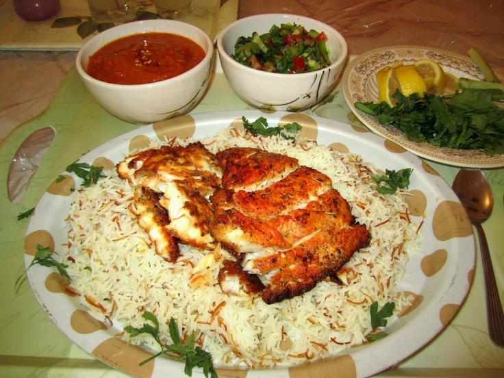 9 best kuwaiti cuisine images on pinterest arabian food arabic baked hamour with fragrant basmatti rice and vermicelli served with spicy red sauce and salad at our home we have been cooking fish or forumfinder Choice Image