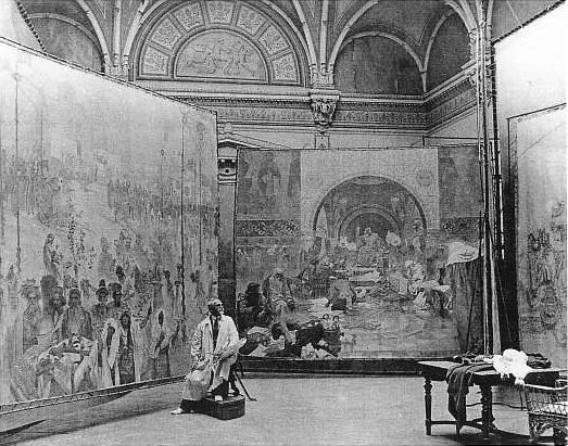 Alphonse Mucha at work on his 20-painting series, which he considered to be his life's masterwork.