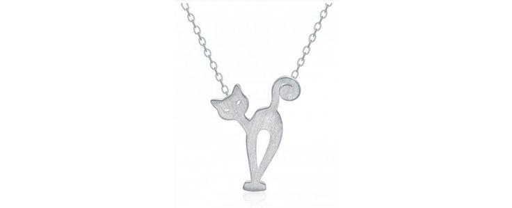 Ezüst cica medál nyaklánccal