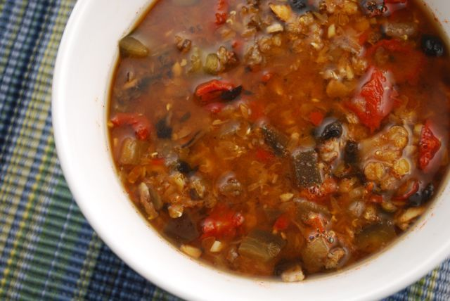 Red Lentil Stew with Eggplant, Mushrooms and Sun Dried Tomatoes | via Georgie Fear, RD