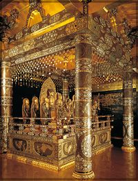 Chuson-ji temple, Hiraizumi,  Japon More gold belying the humble sacrifice of Buddhism. It is still about money, violently if deemed necessary.