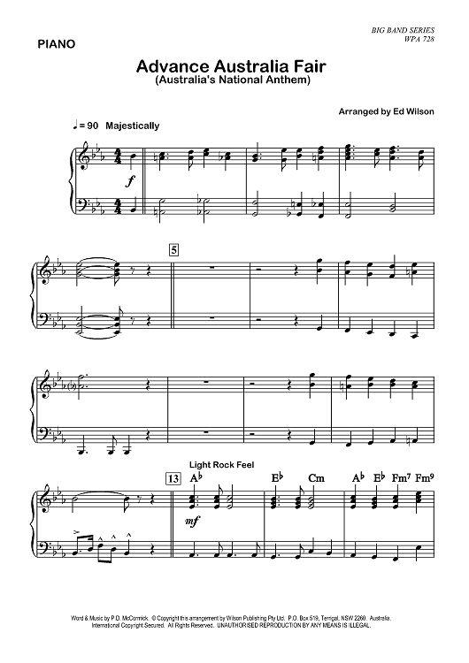 Waltzing Matilda & Advance Australia Fair - Piano Sheet Music Preview Page 1