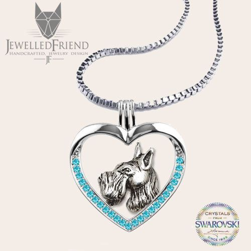 Schnauzer jewelry necklace pendant with swarovski crystal by jewelledfriend. Explore more products on http://jewelledfriend.etsy.com