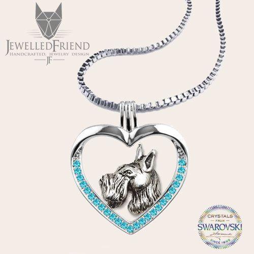 Check out Schnauzer jewelry necklace pendant with swarovski crystal on jewelledfriend