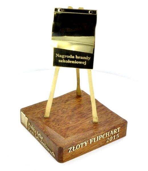 statuetka PIFS - lietery wycite z mosiadzu naklejone na drewno