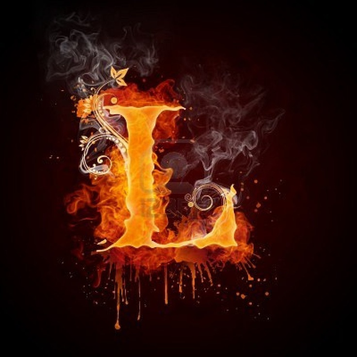 Picture Of Fire Swirl Letter L Stock Photo Images And Photography