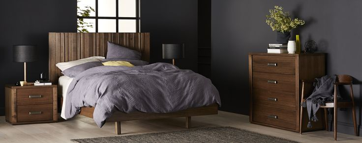 The Havana's stacked timber bed head with  floating base showcases rough sawn feature panels and trims. Rustic metal handles on the bedside tables and tallboy creates an edge. Crafted from Victorian Ash Timber and Solid Pine Slats.