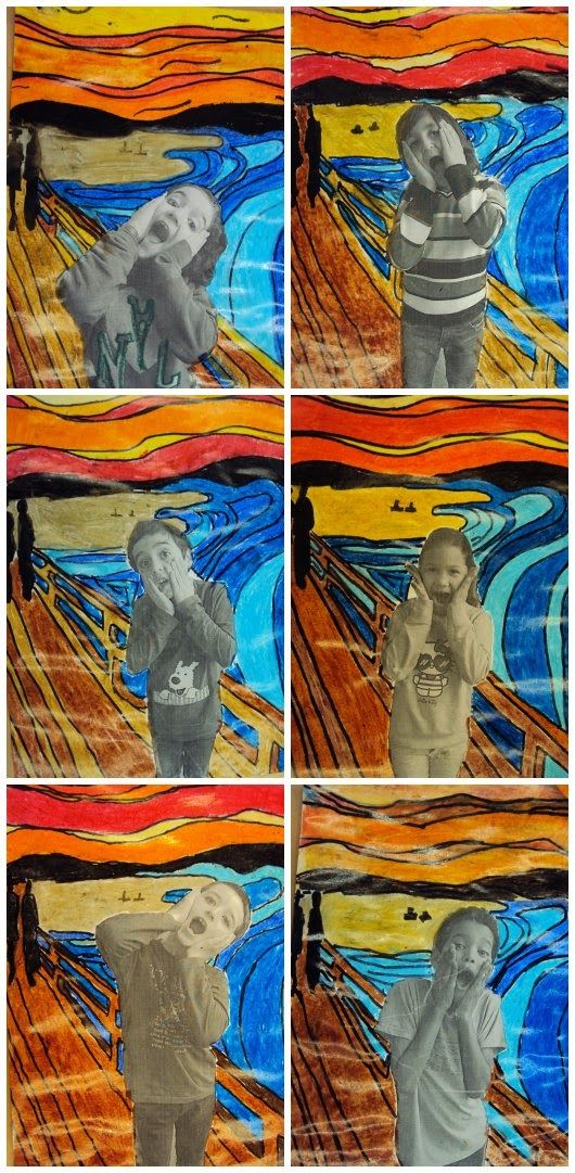 "Plastiquem: 3rd grade art - spanish website gives explanation of original ""Scream"" painting and important things to look for (colours, lines, other features) - visual clues make understanding spanish less important although I wish I could... BTW, Please Check Out This Artist's work: -- http://universalthroughput.imobileappsys.com/site2/gallery.php"