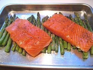 Easy weeknight dinner, good enough for a dinner party! Roasted Salmon & Asparagus w/ Lemon Caper Sauce