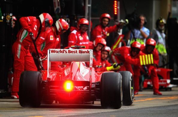 Felipe Massa of Brazil and Ferrari drives in for a pitstop during the Brazilian Formula One Grand Prix