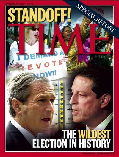 """2000 ELECTION - STANDOFF!  - """"Special Report:  The Wildest Election in History"""" - TIME Magazine, November 20, 2000.  - The First Inauguration of the 21st century and the new millennium followed one of the most contested elections in U.S. history, which hinged on a few thousand disputed ballots in Florida.  VICE PRESIDENT AL GORE and TEXAS GOVERNOR GEORGE W. BUSH took their case to the Supreme Court.  More than a month after the election, Bush was declared the winner."""
