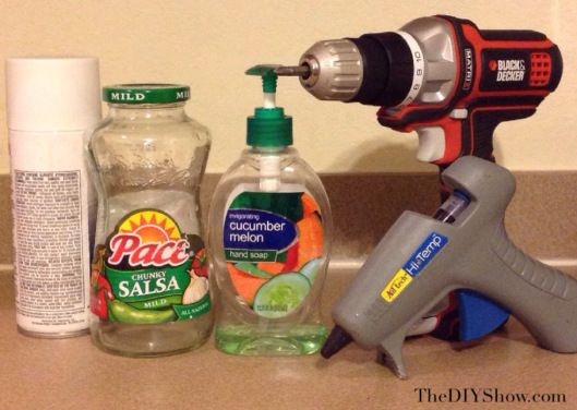 diy soap dispenser using pace picante or salsa jar, crafts, repurposing upcycling