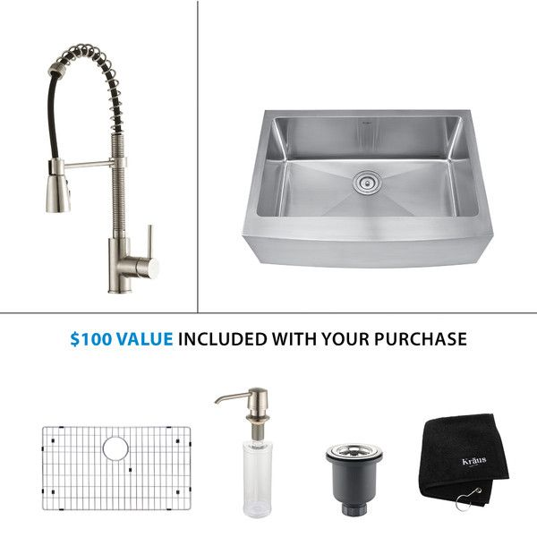 Kraus Kraus 30 inch Farmhouse Single Bowl Stainless Steel Kitchen Sink with Kitchen Faucet and Soap Dispenser & Reviews | Wayfair