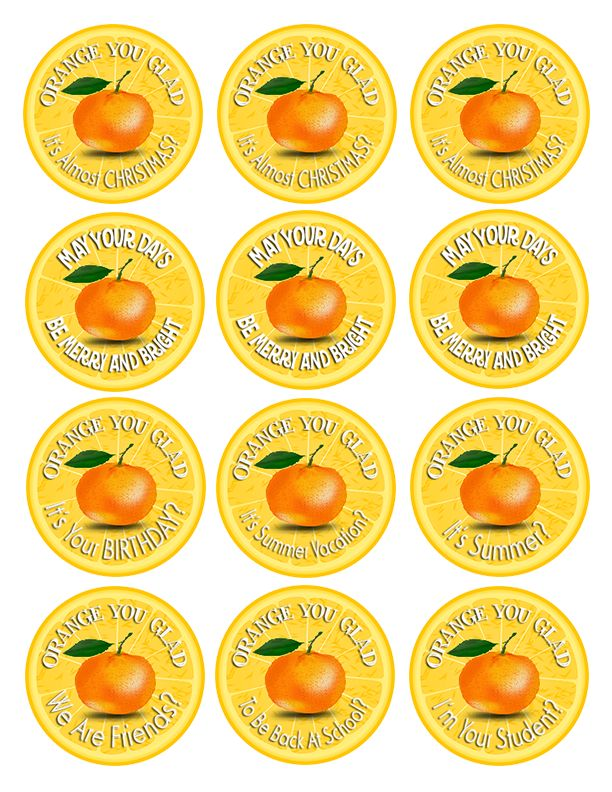 'Orange You Glad' Free Printable Gift Tags #printables #gifts #oranges