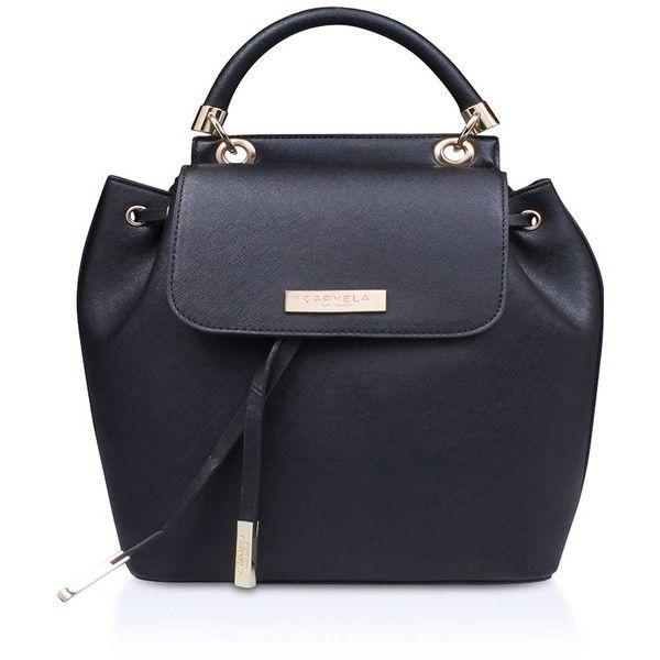 Carvela Darla Backpack (£47) ❤ liked on Polyvore featuring bags, backpacks, bags & luggage handbags, leather drawstring backpack, faux-leather backpacks, drawstring backpack, faux-leather backpack and real leather backpack