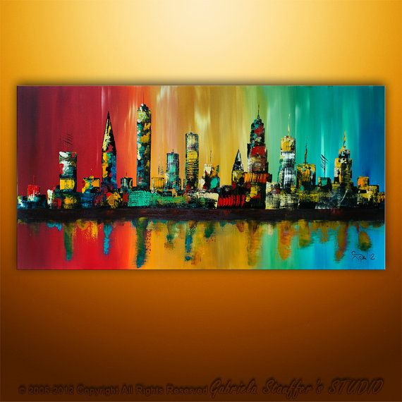 Large Painting Abstract Original Modern Cityscape Art By Gabriela
