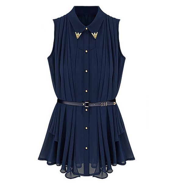 Navy Cape Belted Blouse ($29) ❤ liked on Polyvore featuring tops, blouses, shirts, dresses, blue blouse, navy blue tops, belted shirt, belted blouse and navy shirt