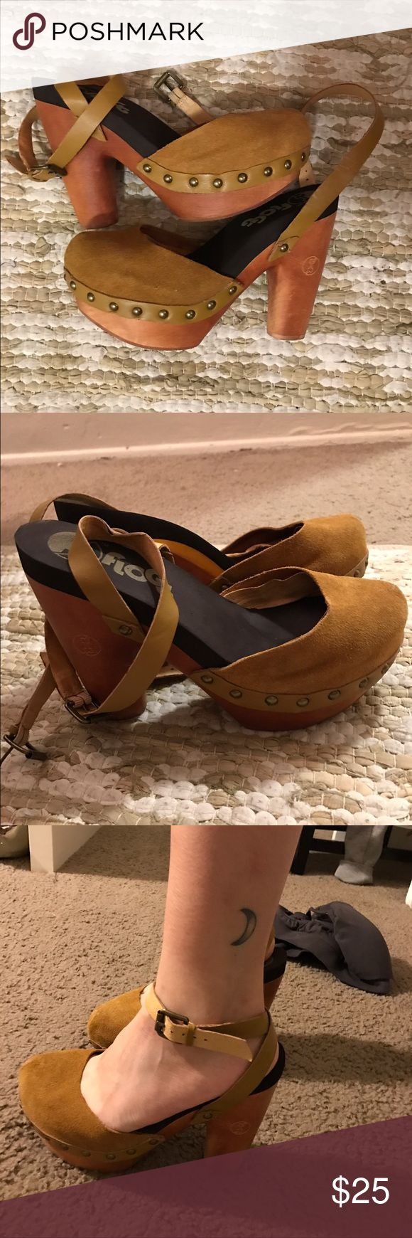 Wooden/Suede Heeled Clogs Super soft and comfy clogs. Only worn twice. Bought at buffalo exchange for $35! Listing as free people for exposure. Thanks :) Free People Shoes Heels