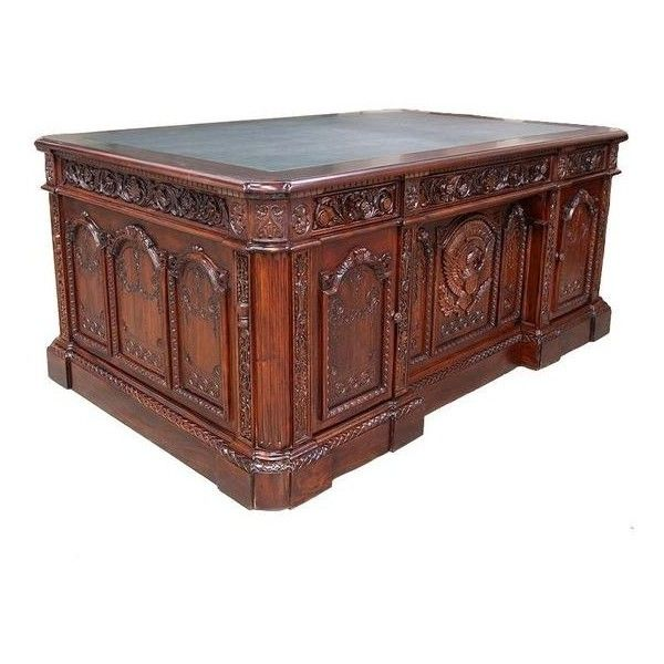 Mahogany Wood Resolute Desk Hand Carved Office Executive President... ❤ liked on Polyvore featuring home, furniture, desks, mahogany wood furniture, executive furniture, hand carved desk, executive desk and mahogany furniture