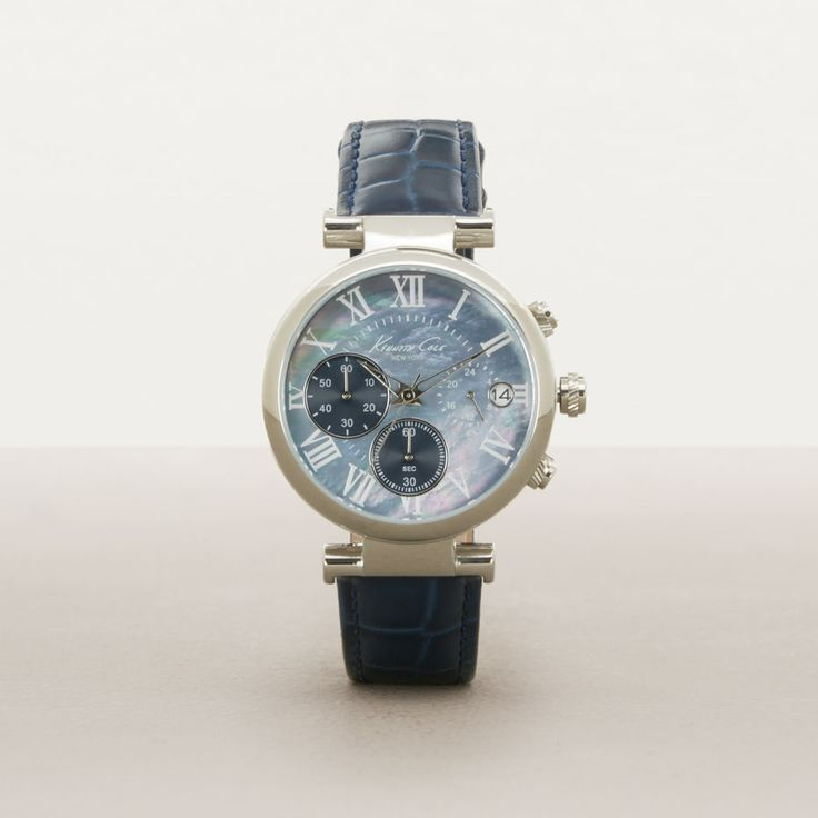Silvertone With Blue Mother Of Pearl Accent Chronograph Watch