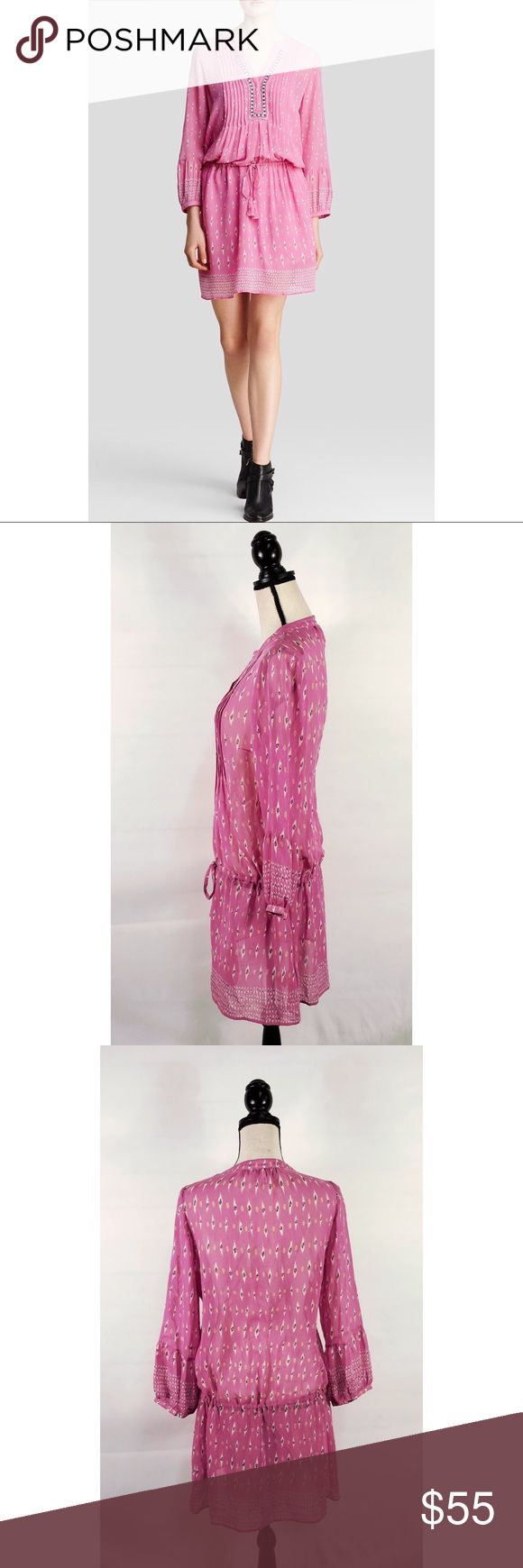 """Joie Silk Dress Boho Suerte Palm Ikat Womens Sz M Pink Sheer Tie Waist Festival  A small-scale ikat print streaks over a perfectly pink silk dress styled with tassel ties nipping in the waist and sharp pleats flanking the split neckline. Full blouson sleeves and a drapey skirt finish the effortlessly sophisticated design.  **Removable silk slip not included.** Length: 37 1/4"""" (size Medium).  B-1 Joie Dresses Mini"""
