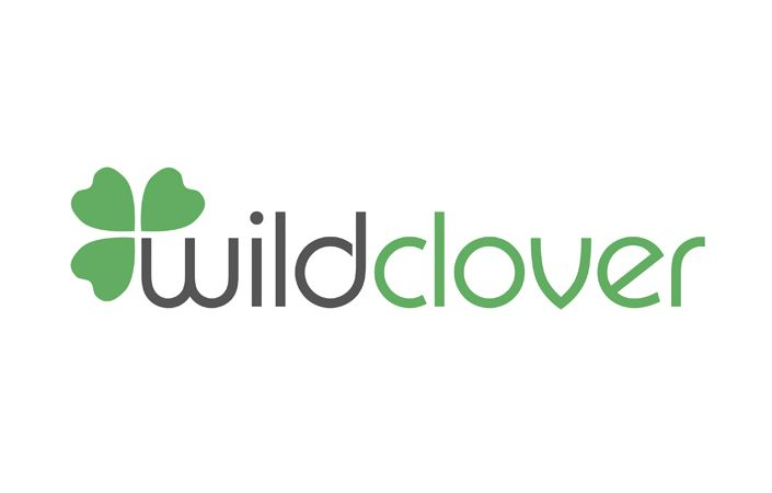 Maybe incorporate my current clover brand shape onto the corner of my name? Wild Clover Organic Clothing minimalist logo design